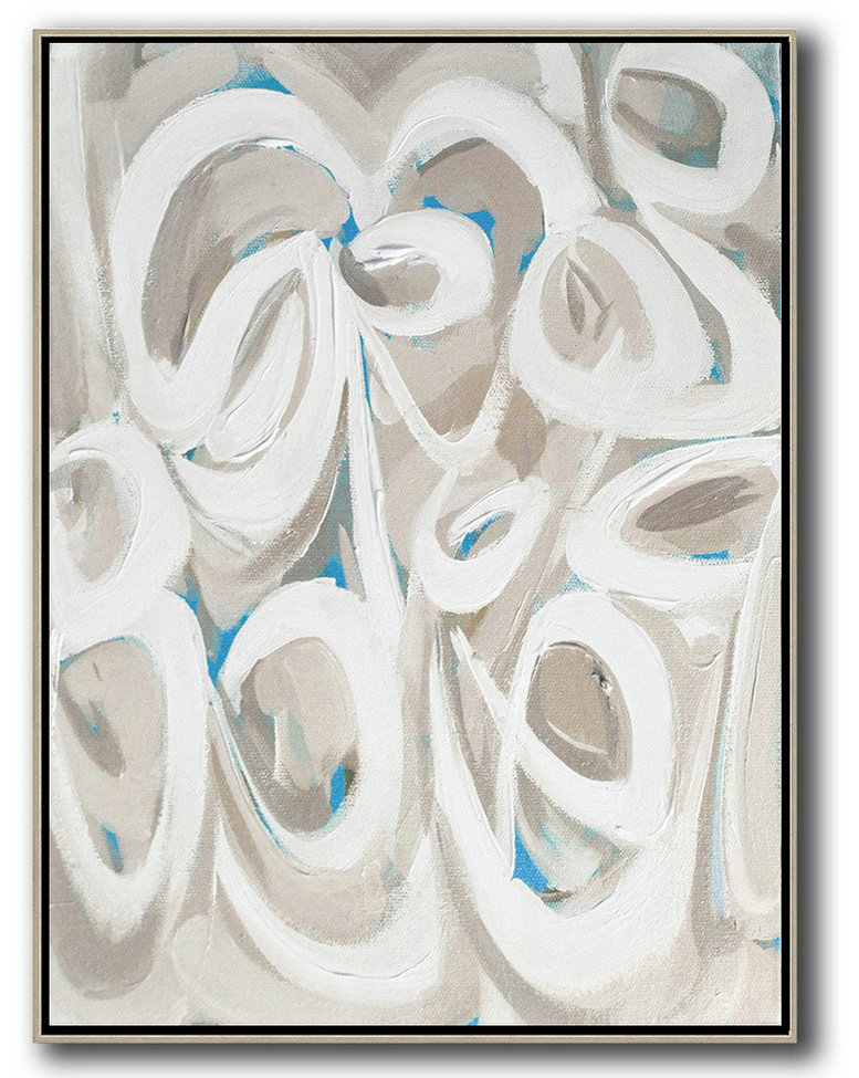 Vertical Palette Knife Contemporary Art,Large Wall Canvas,White,Beige,Blue