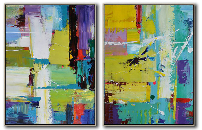 Set Of 2 Contemporary Art,Abstract Art Decor Large Canvas Painting,Yellow,Light Green,Red,Purple