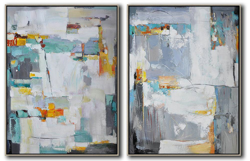 Set Of 2 Contemporary Art,Acrylic Painting Wall Art,Grey,Blue,White,Yellow,Sky Blue