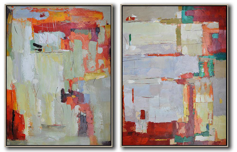 Set Of 2 Contemporary Art,Hand Made Original Art,Red,Grey,Orange,Green