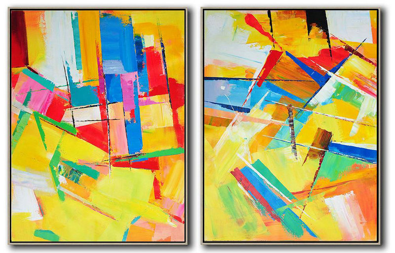 Set Of 2 Contemporary Art,Large Paintings For Living Room,Red,Yellow,Pink,Orange,Light Green