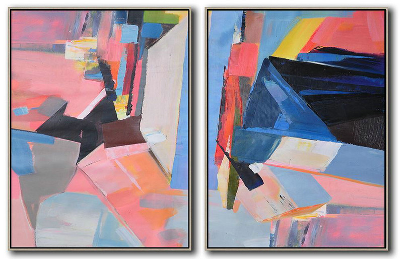 Set Of 2 Contemporary Art,Hand-Painted Canvas Art,Pink,Blue,Black,Red