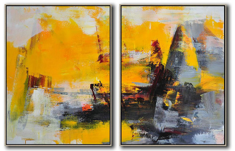 Set Of 2 Contemporary Art,Original Abstract Painting Canvas Art,Yellow,Grey,Black,Red