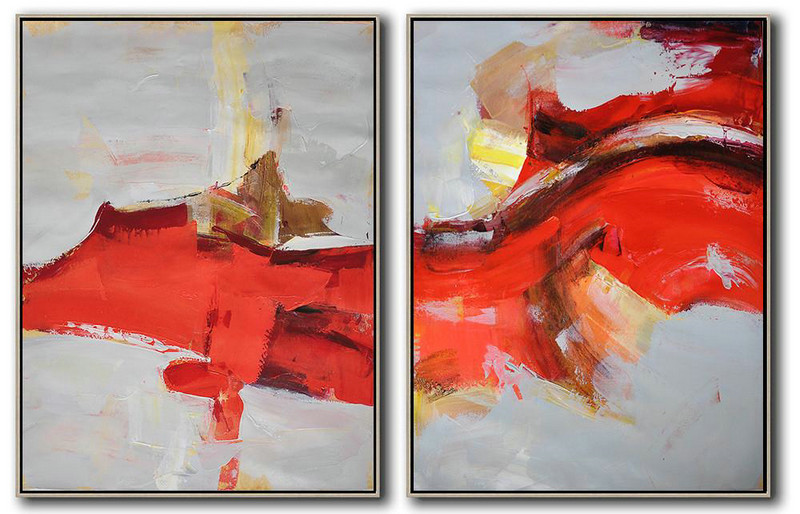 Set Of 2 Contemporary Art,Large Abstract Art Handmade Acrylic Painting,Grey,Red,Brown
