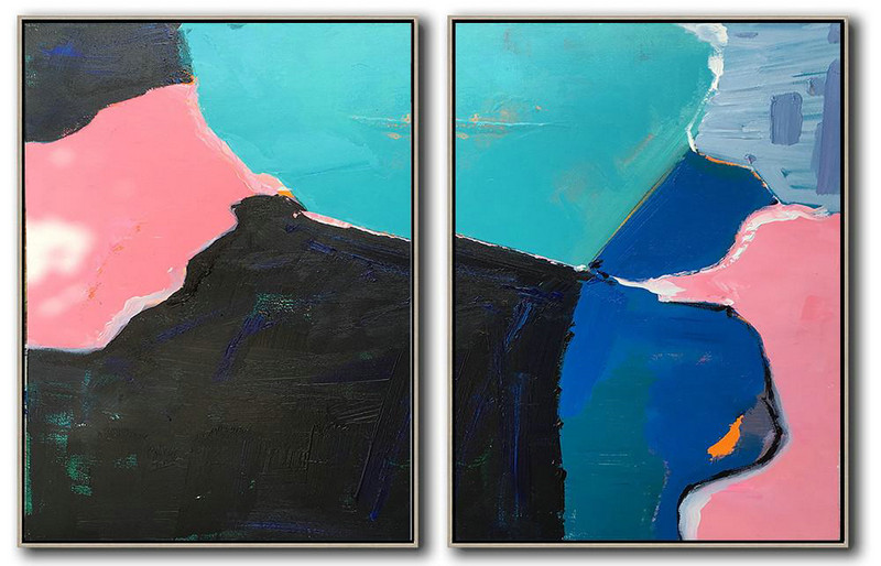 Set Of 2 Contemporary Art,Modern Paintings,Pink,Black,Blue,White