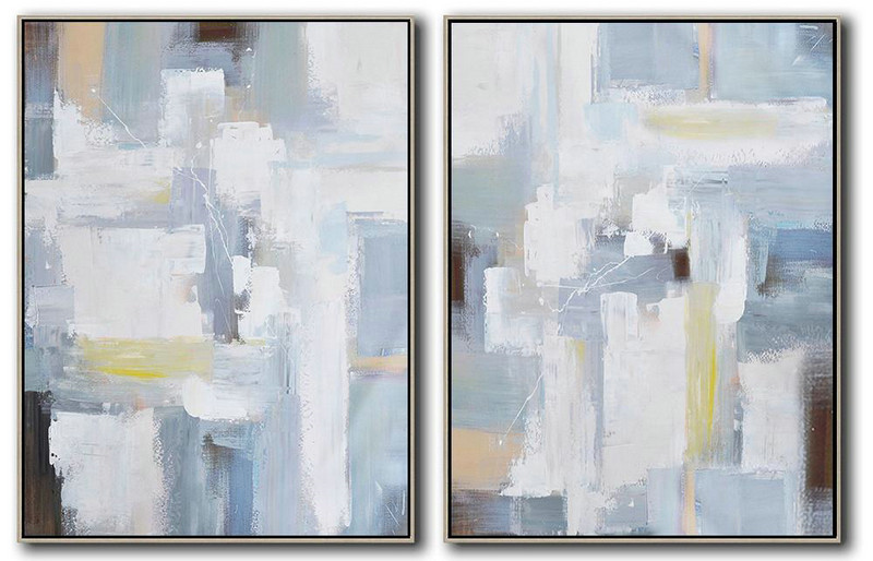 Set Of 2 Contemporary Art,Original Abstract Painting Canvas Art,Grey,White,Brown,Blue