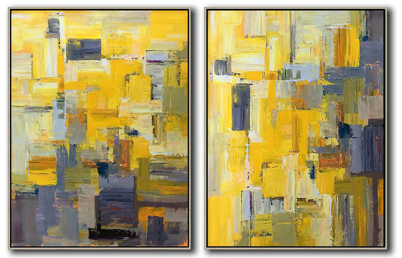 Set Of 2 Contemporary Art,Extra Large Wall Art,Yellow,Purple,Taupe,Brown