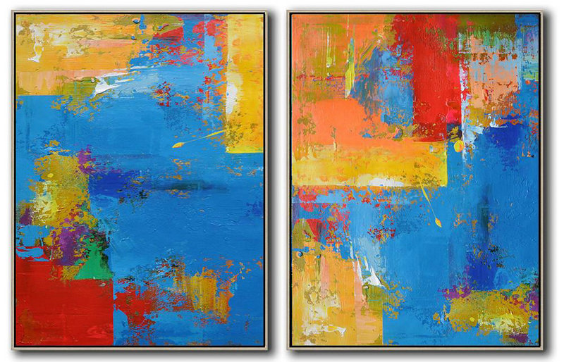 Set Of 2 Contemporary Art,Modern Art,Blue,Yellow,Red,Orange