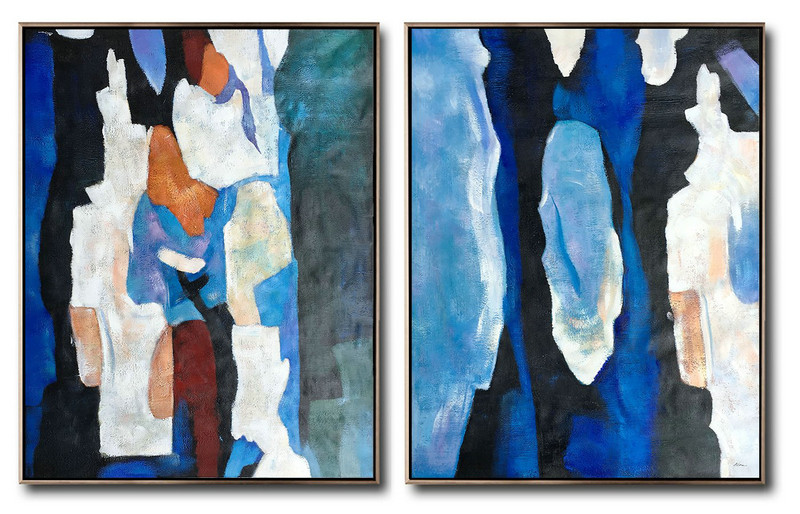 Large Set Of 2 Blue Minimalist Painting,Large Abstract Wall Art,Blue,Orange,Brown,Black,White