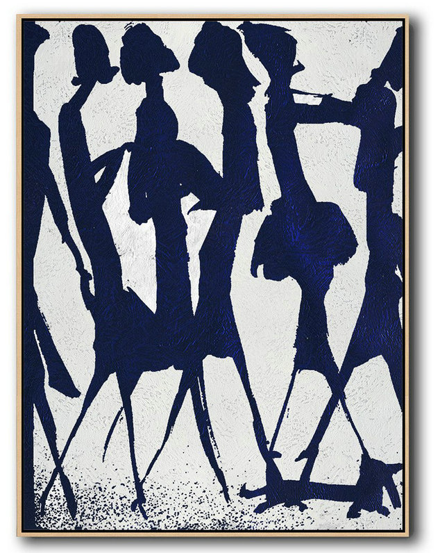 Buy Hand Painted Navy Blue Abstract Painting Online,Modern Canvas Art#K8E2