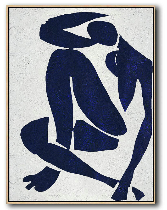 Buy Hand Painted Navy Blue Abstract Painting Nude Art Online,Large Abstract Wall Art#R5Y7