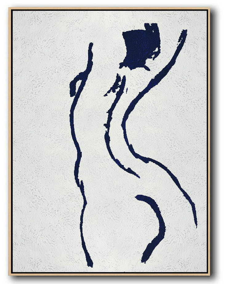 Buy Hand Painted Navy Blue Abstract Painting Nude Art Online,Modern Art#I8I9