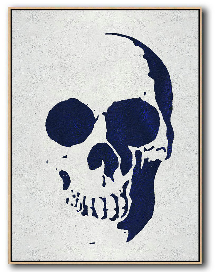 Buy Hand Painted Navy Blue Abstract Painting Skull Art Online,Canvas Paintings For Sale#O1N9