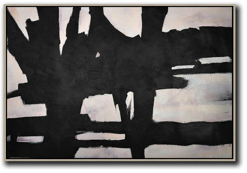 Hand Painted Oversized Horizontal Minimal Art On Canvas,Living Room Canvas Art #N9W5