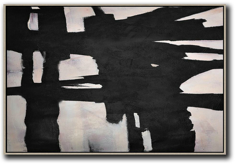 Hand-Painted Oversized Horizontal Minimal Art On Canvas,Large Contemporary Painting #K3H3
