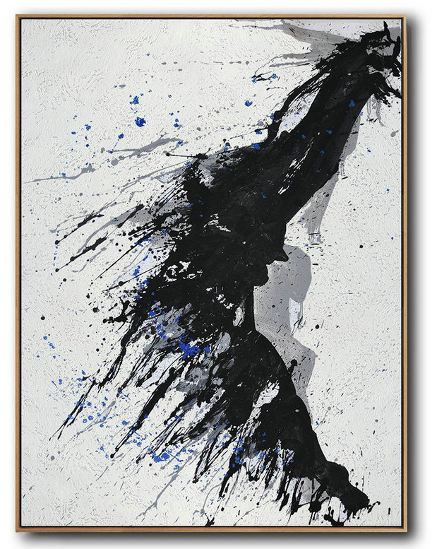 Hand-Painted Black And White Minimal Painting On Canvas,Modern Painting Abstract #F5F0