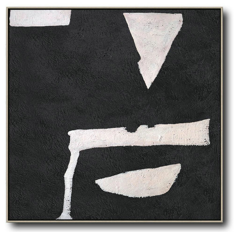 Hand-Painted Oversized Minimal Black And White Painting,Hand Painted Acrylic Painting #V3P2