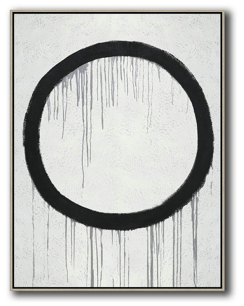Hand-Painted Black And White Minimal Painting On Canvas,Decorating A Big Living Room #N1N9