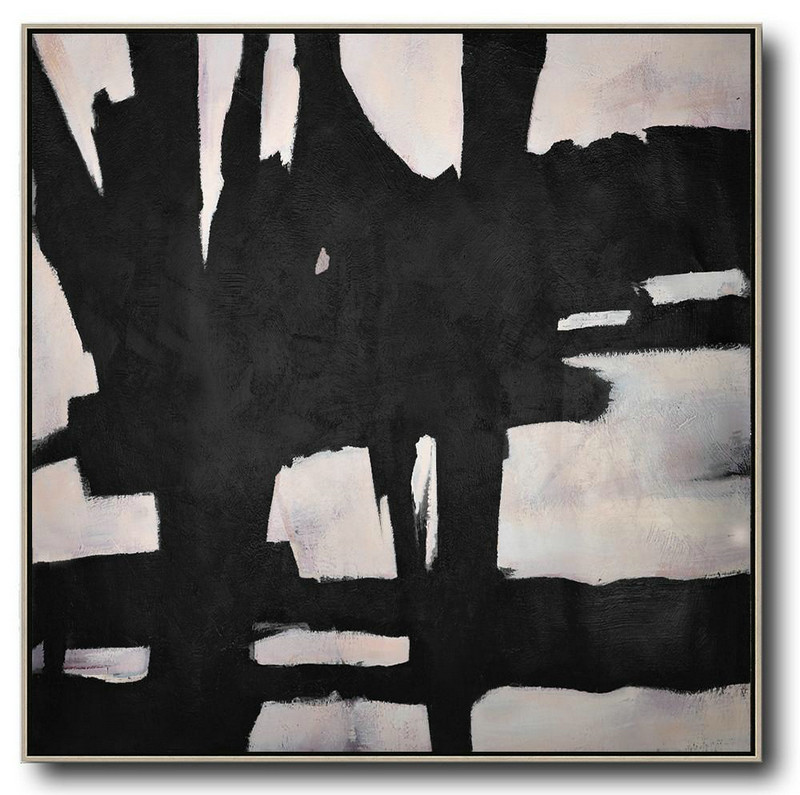 Hand-Painted Oversized Minimal Black And White Painting,Modern Art Abstract Painting #D8P5