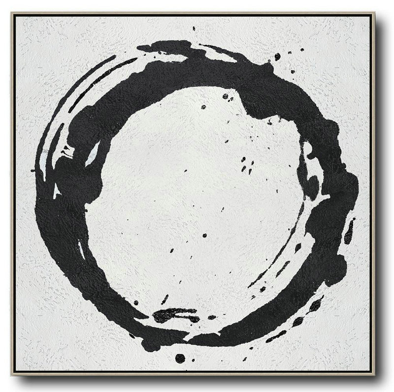 Oversized Minimal Black And White Painting,Acrylic Painting On Canvas #M9O5