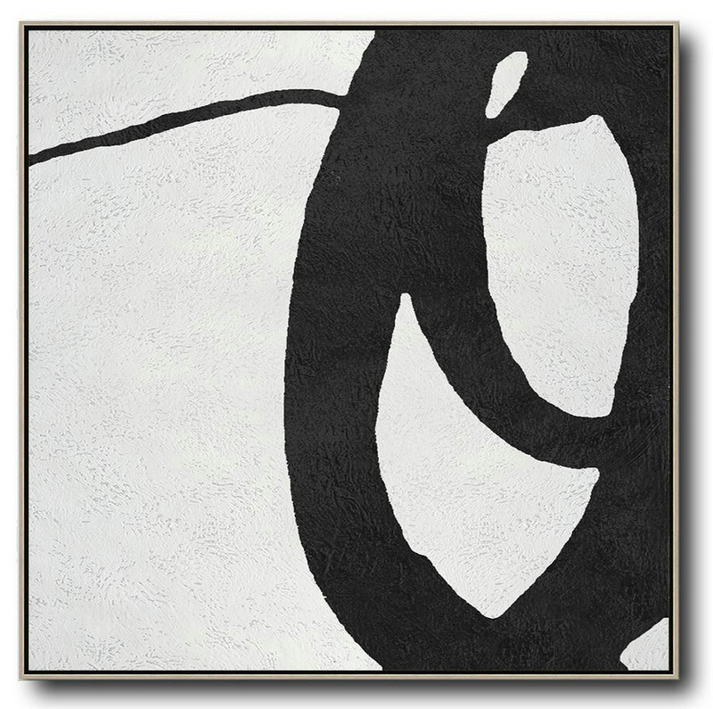 Oversized Minimal Black And White Painting,Wall Art Painting #U9A4