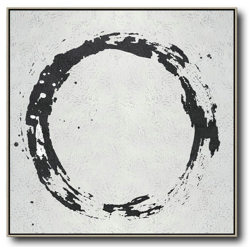 Oversized Minimal Black And White Painting,Modern Paintings #V4B9