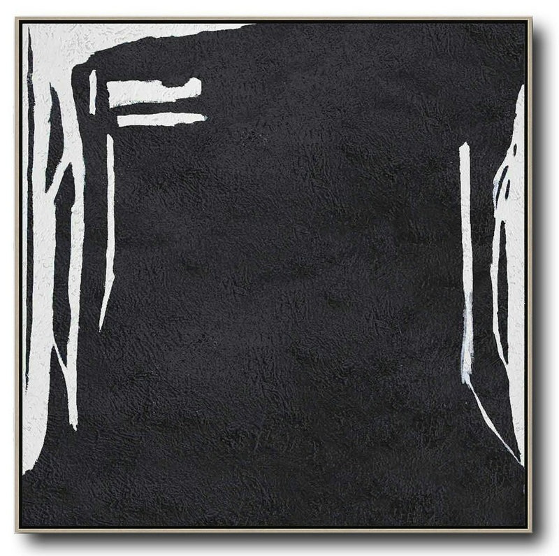 Oversized Minimal Black And White Painting,Canvas Wall Art #Y1B0