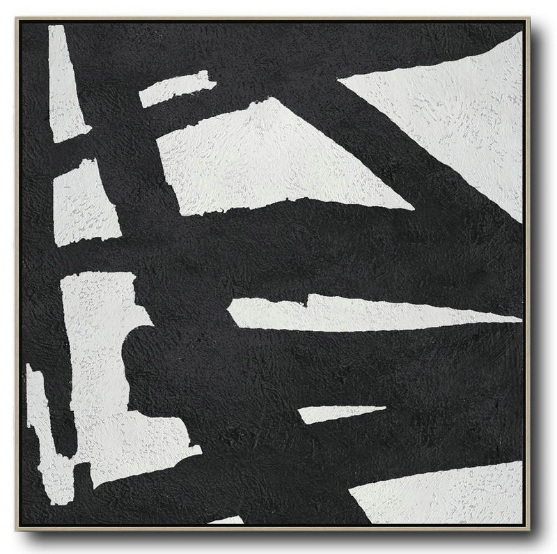 Oversized Minimal Black And White Painting,Modern Art #S7W4