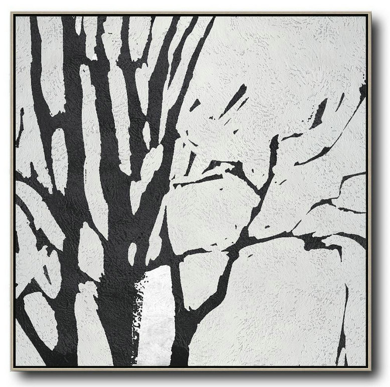 Oversized Minimal Black And White Painting,Large Abstract Wall Art #Q7O8