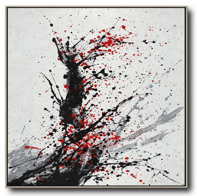 Minimalist Drip Painting On Canvas, Black, White, Grey, Red,Modern Art Abstract Painting #C6P5