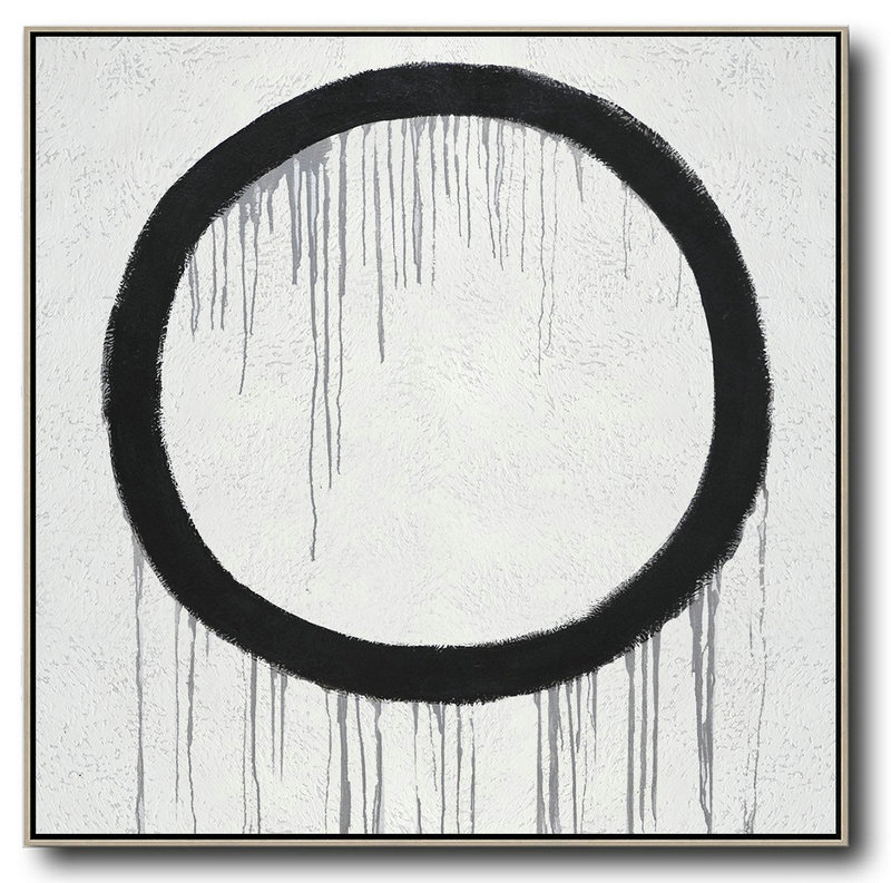 Minimalist Drip Painting On Canvas, Black, White, Grey,Modern Art Abstract Painting #V4K7