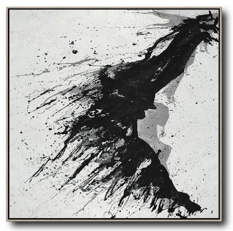 Minimalist Drip Painting On Canvas, Black, White, Grey,Original Art Acrylic Painting #N2Z8
