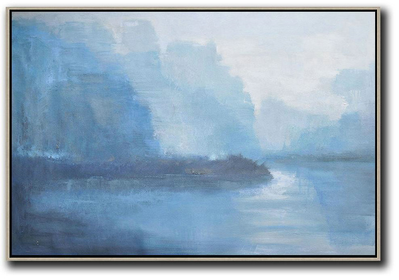 Horizontal Abstract Landscape Oil Painting,Large Oil Canvas Art,Purple Grey,Blue,White