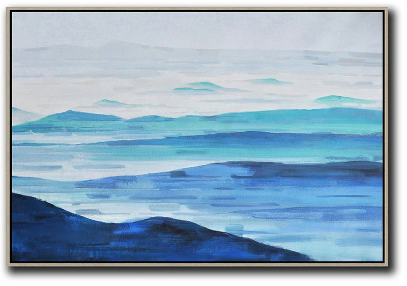 Horizontal Abstract Landscape Oil Painting,Large Canvas Wall Art For Sale,Grey,White,Blue