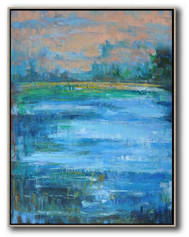 Abstract Landscape Painting,Big Art Canvas,Earthy Yellow ,Blue,Green