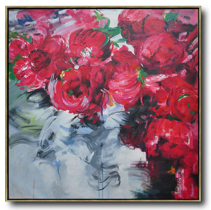 Abstract Flower Oil Painting Large Size Modern Wall Art,Hand Painted Original Art #R4O8