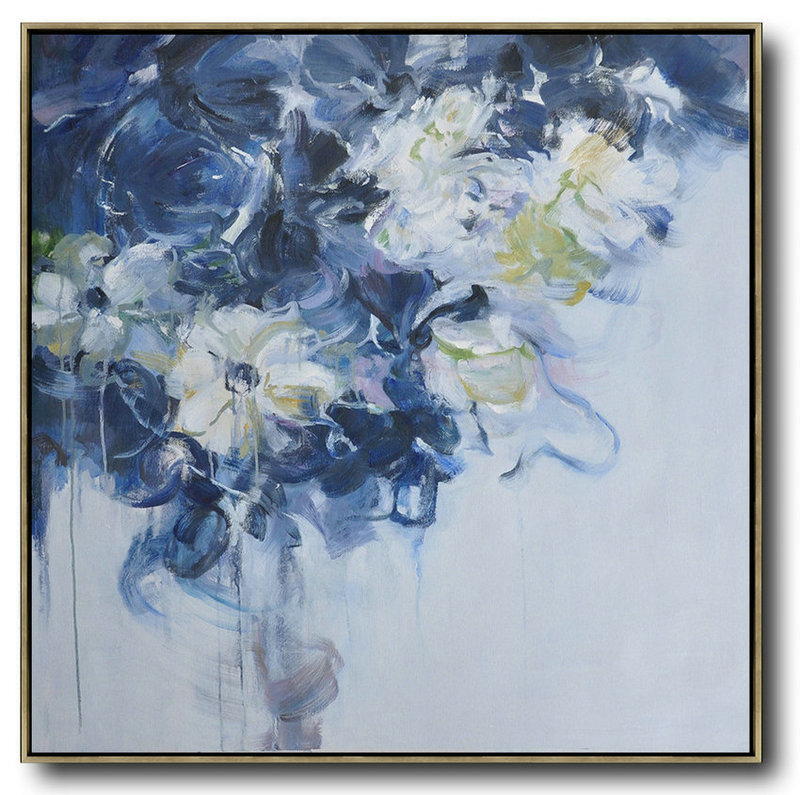 Abstract Flower Oil Painting Large Size Modern Wall Art,Large Contemporary Painting #U1V8