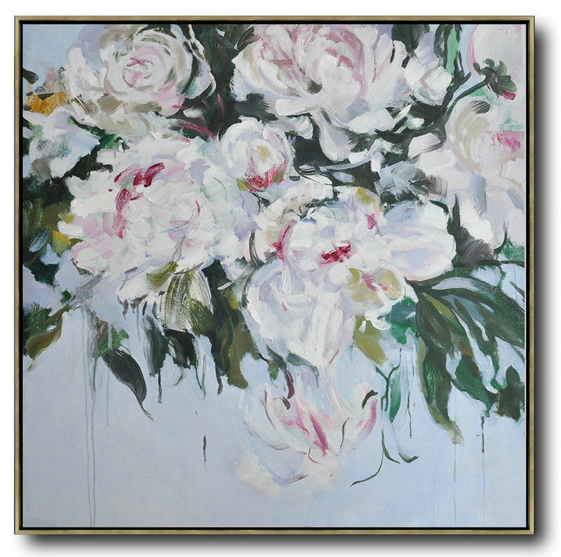 Abstract Flower Oil Painting Large Size Modern Wall Art,Large Wall Art Canvas #V7N1