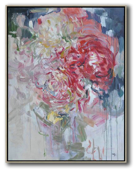 Hame Made Extra Large Vertical Abstract Flower Oil Painting,Extra Large Paintings #F0K3
