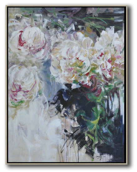 Hame Made Extra Large Vertical Abstract Flower Oil Painting,Large Wall Canvas #R7S3