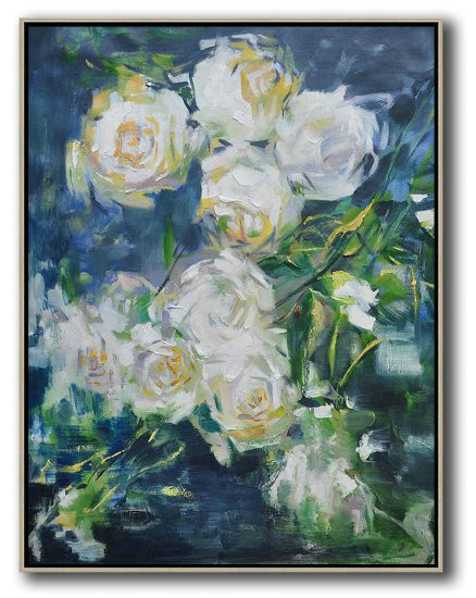 Hame Made Extra Large Vertical Abstract Flower Oil Painting,Large Oil Canvas Art #R4W3