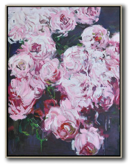 Hame Made Extra Large Vertical Abstract Flower Oil Painting,Huge Canvas Art On Canvas #B7R9