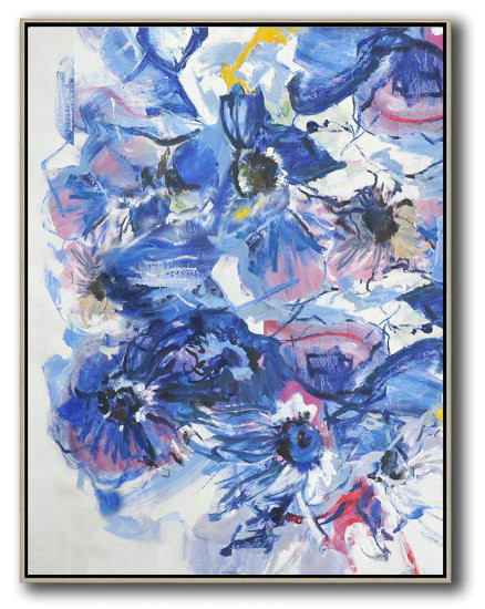 Hame Made Extra Large Vertical Abstract Flower Oil Painting,Extra Large Artwork #V0G8