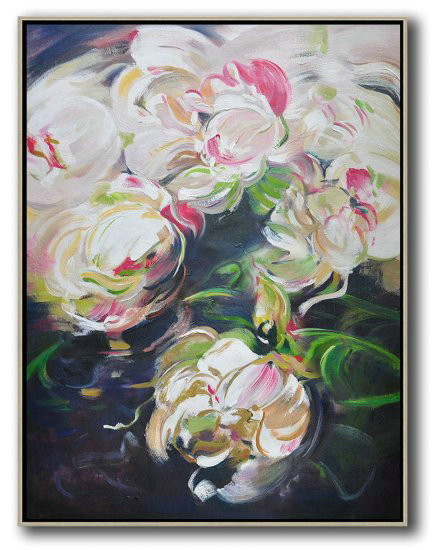 Hame Made Extra Large Vertical Abstract Flower Oil Painting,Custom Canvas Wall Art #V4B2