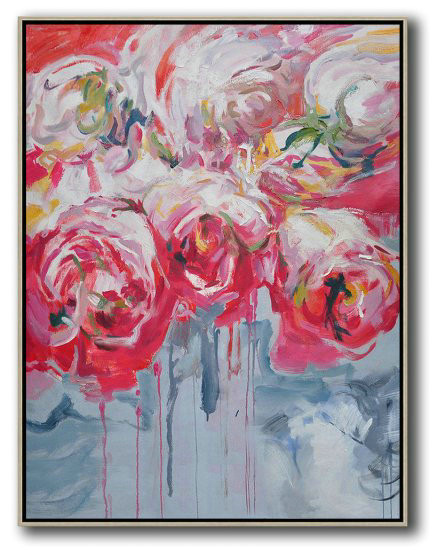 Hame Made Extra Large Vertical Abstract Flower Oil Painting,Hand Painted Original Art #C0P1