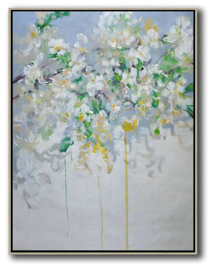 Hame Made Extra Large Vertical Abstract Flower Oil Painting,Large Canvas Wall Art For Sale #P6X4