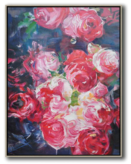Hame Made Extra Large Vertical Abstract Flower Oil Painting,Oversized Custom Canvas Art #P0W4