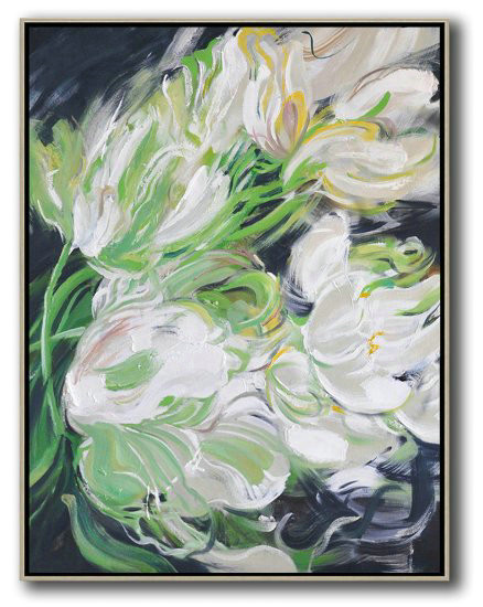 Hame Made Extra Large Vertical Abstract Flower Oil Painting,Extra Large Wall Art #D7F9
