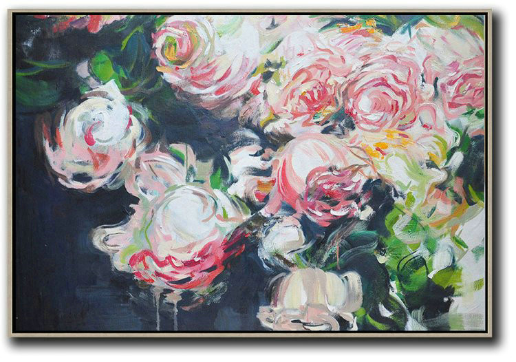 Horizontal Abstract Flower Painting Living Room Wall Art,Modern Art Abstract Painting #N1D7