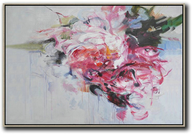 Horizontal Abstract Flower Painting Living Room Wall Art,Acrylic Painting Wall Art #K2M9